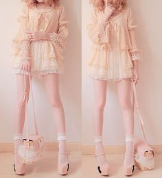 Baby-pink one-piece, pink ruffled cardigan, white ankle socks, pink heels, pink shoulder bag