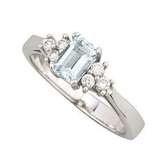 9ct white gold aquamarine and 0.17 carat diamond ring -something I'd have to try on...usually don't like square diamonds on me but this is pretty