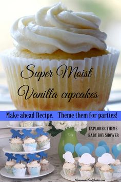 Super Moist Vanilla Cupcake Recipe stays moist overnight. Such a help on party day. #cupcakes #desserts #desserttable #cupcakerecipeseasy