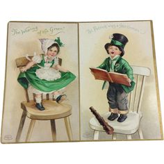 Pair Embossed St. Patrick's Day IAPC Cards www.rubylane.com #vintage #vintagecollectibles #stpatricksday #cards