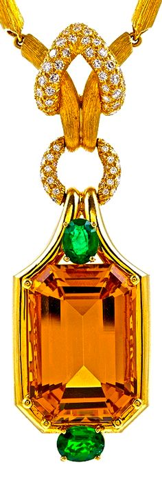 HENRY DUNAY Citrine Emerald Diamond Yellow Gold Necklace