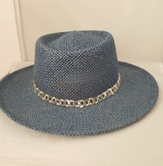 Straw Cowgirl Hat Blue Womens Sequined Band Dijon Collections Made in USA   DijonCollection  WideBrim 0c72e121478b