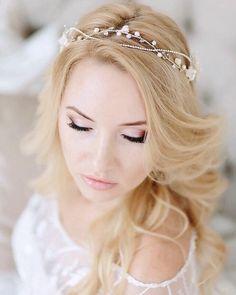 Items similar to Bridal wreath Bridal Hair Vine, Bridal Tiara, Bridal Headpieces, Gold Wedding Crowns, Flower Tiara, Silver Headband, Light Pink Flowers, Bridal Accessories, Hair Pieces
