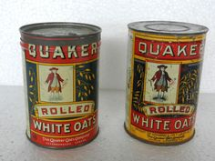 2 Vintage Quaker White Oats Tin Box, Canada | eBay