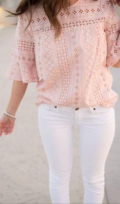 Blush + white.