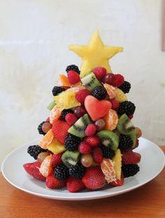 edible christmas tree made with fruit