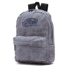 Realm Backpack ($38) ❤ liked on Polyvore featuring bags, backpacks, stripes black, rucksack bag, vans bag, striped bag, stripe backpack and stripe bag
