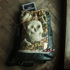 drawstring skull backpack by 2Gargouille on Etsy awesome handmade statement backpack that will get all the hype