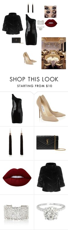 """""""Night out look"""" by gabiiiii-1 ❤ liked on Polyvore featuring Yves Saint Laurent, River Island, Lime Crime, Yves Salomon and Suzanne Kalan"""