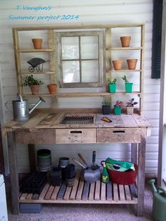 Pallet Potting Bench - I needed a place to propagate and pot up planters. This is in a very handy spot for me to do that. I'm all ready for next spring! But, sh…