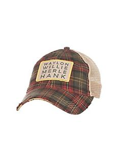 Judith March Green and Red Plaid with Gold Embroidered Waylon Willie Merle Hank and Tan Mesh Back Snap Back Cap