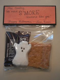 Halloween S'mores teacher gift idea; easiest option especially for 8 teachers!!