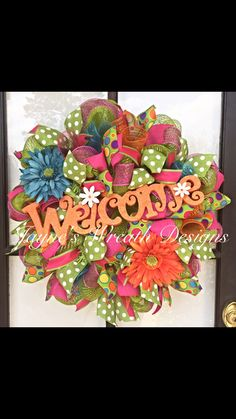Spring/ Summer Deco Mesh Welcome Wreath - ready for shipping! By Jayne's Wreath Designs on fb and Instagram