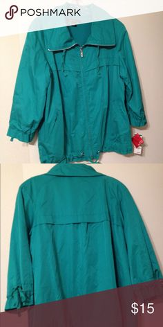 Windbreaker Style & Co 3/4 tie sleeves.  2 front pockets.  Mesh lining.  Nice green color.  Soft polyester. Style & Co Jackets & Coats