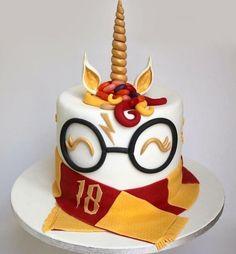 cake, hogwarts, and unicorn image