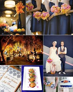 Navy and Orange are great for the fall.  I love the pink in the flowers, too. Not sure if that is too summery.  ??