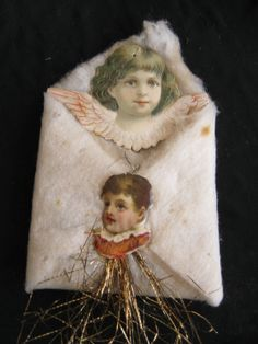 4 Antique Christmas Decorations Flats Scraps Tinsel Cotton Baby Angel | eBay