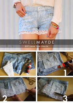 swellmayde: DIY | Lace Trim Denim Shorts (Part 1)