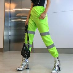 Neon Light-green Two Tone Pocket High Waist Casual Joggers Neon Party Outfits, Neon Green Outfits, Rave Outfits, Neon Pants, Verde Neon, Joggers Womens, Pants For Women, Clothes For Women, Fall Fashion Trends