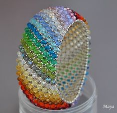 Wonderful Beaded Jewelry Creations by Maya Beading Patterns Free, Beaded Bracelet Patterns, Bead Patterns, Silver Bead Necklace, Seed Bead Jewelry, Maya, Beaded Rings, Beaded Bracelets, Beads And Wire
