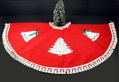 Vintage 1950s Red and White Christmas Tree Skirt with by Circa810, $20.00