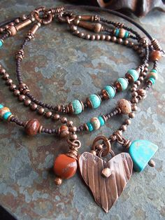 Heart Necklace Southwest Copper Charm Metalwork Turquoise Jasper Leather Red. $52.00, via Etsy.