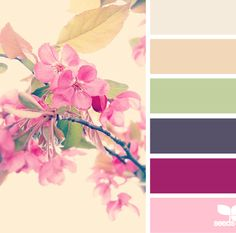 Very interesting palette of soft colours including an almost brown purple, a soft deep magenta and a soft light green