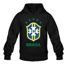 Greenday Men's Hooded Brazil National Football Size XL Black - Brought to you by Avarsha.com