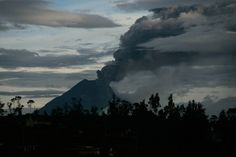 May 5, 2013. A general view of the Tungurahua volcano located in the middle of the Ecuadorean Andes, that nine days ago registered the beginning of an activity, seen from Pillaro, Ecuador.