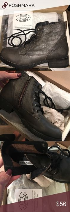 Steve Madden grey leather boots Beautiful boots. Grayish brown in color. The box says grey leather as the color description! True to size. Size 10. New with box!! Add them to your fall and winter wardrobe today 😊 Steve Madden Shoes Combat & Moto Boots