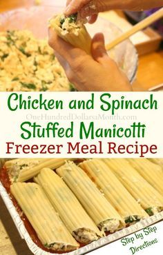 Freezer Meal - Chicken and Spinach Stuffed Manicotti - One Hundred Dollars a Month - Freezer Meal Recipes, Chicken and Spinach Stuffed Manicotti, Chicken Freezer Meals, Healthy Freezer Meals, Meal Prep Chicken Freezer Meals, Freezer Friendly Meals, Budget Freezer Meals, Make Ahead Freezer Meals, Cooking On A Budget, Chicken Recipes, Budget Recipes, Freezer Meal Recipes, Freezer Cooking