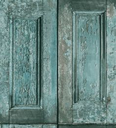 Papel pintado puertas de madera Shabby Chic verde jade - 1007851