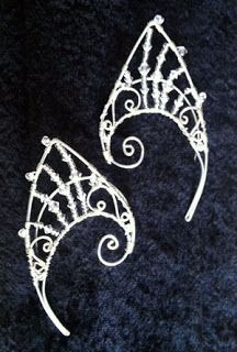 Wire 'ELF EARS' We are so excited about how well our Wire Elf Ears are selling at Scarborough Faire Renaissance Festival, south of Dallas. Wire Crafts, Jewelry Crafts, Elf Ear Cuff, Ear Cuffs, Elf Ears, An Elf, Medieval Fashion, Ear Jewelry, Swarovski Crystals