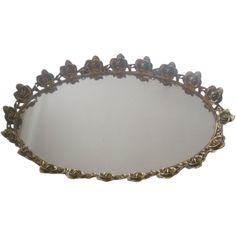 Vintage Large Gold tone Rose Ormolu Dresser Mirror #GotVintage #vanity