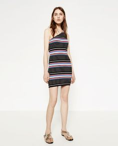 ZARA - WOMAN - ASYMMETRIC NECKLINE DRESS  This print is hideous but also you would still look bomb in it.