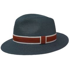 Hermès Marseille Woven Hat in Marine Blue, Flint Grey & Mahogany (1.610 BRL) ❤ liked on Polyvore featuring men's fashion, men's accessories, men's hats, mens blue fedora hat and mens hats