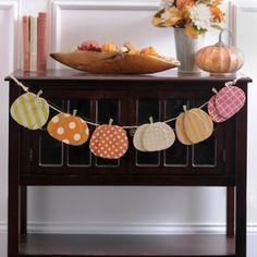 Geometric Pattern Pumpkin Banner-Make this a DIY with fall scrapbook papers! Fall Garland, Fall Banner, Diy Banner, Diy Garland, Kirkland Home Decor, Halloween Banner, Halloween Stuff, Halloween Crafts, Wooden Pumpkins