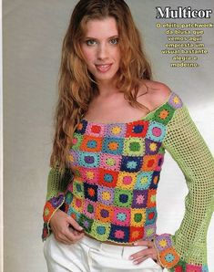 Crochet gypsy style granny square blouse with sleeves ♥LCB♥ with diagrams