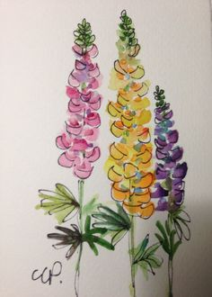 Tall Lupine Spires Watercolor Card by gardenblooms on Etsy: #watercolorarts
