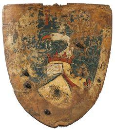 Scudo da Cavaliere con l'arma del signore svizzero Schorpp von Freundenberg. Tardo XIV secolo. Altezza 58 cm circa. Larghezza 55 cm circa (collezione privata).