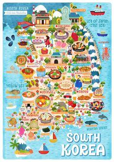 Seoul Korea Travel, South Korea Seoul, Korea Map, Korean Lessons, Sea Of Japan, Korean Words, Thinking Day, Learn Korean, Map Wall Art