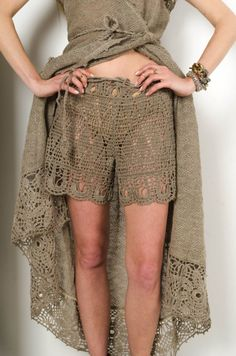 Crochet shorts! They are must have for summer! Handmade gray resort shorts are made of linen yarn! They are very comfortable for summer . The  handmade lace makes them  unique. The linen yarn allows y