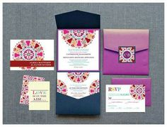 Today we are heading back to the continent of Asia with these Indian wedding Invitations. Full of colors and patterns, these invitations are detailed and beautiful! Indian Wedding Cards, Indian Wedding Invitations, Big Fat Indian Wedding, Wedding Stationary, Wedding Invitation Cards, Formal Invitations, Invites, Wedding Blog, Dream Wedding