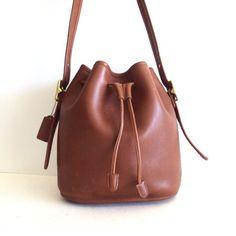 vintage Coach Leather Drawstring Bucket Crossbody Tote Bag.