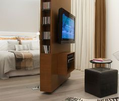 Click Pic for 40+ Small Apartment Ideas   Rotating wall allows you to watch tv day and night   Studio Apartment Decorating Ideas