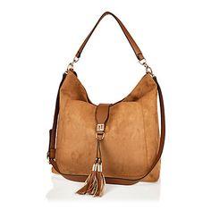 Brown large faux-suede tassel front handbag £35.00  riverisland   bloggerstyle Shoulder Strap 627e3bcea7b35