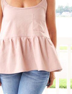 free women's tank top sewing pattern, tiered tank DIY