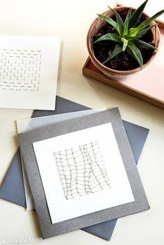 Askartele kortti kirjomalla   Kotivinkki Text: Karen Marie Dehn Pic: Annitta Behrendt/Idecor Images #card #cards #diy Cards, Maps