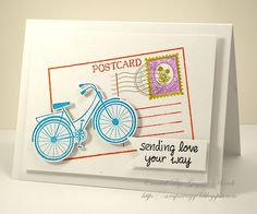 bicycle stamp and die set from Hero Arts and You've Got Mail by Lawn Fawn