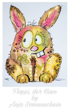 Funny bunny watercolor - Easter card doodle images for kids Funny bunny watercolor - Easter card doodle Watercolor Animals, Watercolor Cards, Watercolor Paintings, Watercolour, Cute Illustration, Watercolor Illustration, Easter Drawings, Easter Art, Happy Paintings